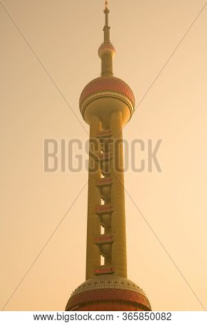 Pudong, Shanghai, China, November 26, 2008: A Low Angle Close-up Detail Of The Oriental Pearl Tower.