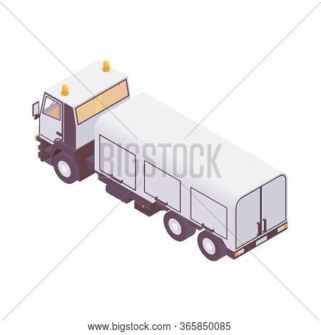 Isometric Aircraft Loading Truck. Catering And Cabin Leaning Trucks