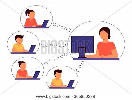 Learn Distance. Pupils Boy And Girl Is Sitting On Laptop And Studying Lesson. Child Learns Remotely.