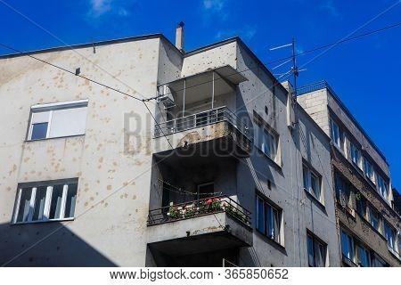 Sarajevo, Bosnia And Herzegovina - July 11, 2019: Bullet Holes On Buildings In Sarajevo, Momory Of S