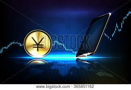 Abstract Background Of Futuristic Technology China Yuan Digital Currency And Smart Mobile Phone With