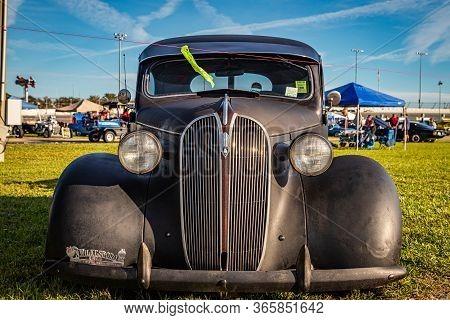 Daytona Beach, Fl / Usa- November 24, 2018: 1937 Plymouth 2 Door Slant Back Coupe At The Fall 2018 D