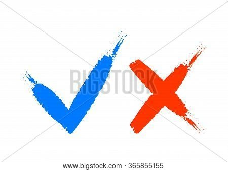 Hand Drawn Of Blue Checkmark And Red Cross Isolated On White Background. Right And Wrong Icon. Check