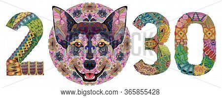 Zentangle Stylized Dog Number 2030. Hand Drawn Lace Vector Illustration