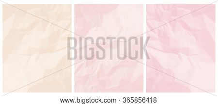 3 Abstract Textured Vector Layouts. Pastel Color Crumpled Paper Layers. Light Cream And Light Pink B