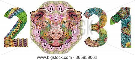 Zentangle Stylized Pig Number 2031. Hand Drawn Lace Vector Illustration