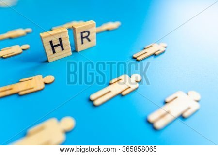 Hr - Wooden Blocks With Letters, Human Resources New Employees Hr Concept, Top View On Blue Backgrou