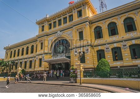 Ho Chi Minh Citys Main Post Office. Ho Chi Minh, Vietnam - March 19, 2020