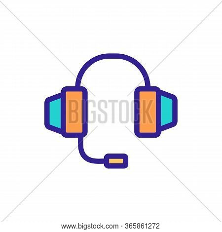 Headphone With Integrated Microphone Icon Vector. Headphone With Integrated Microphone Sign. Color S