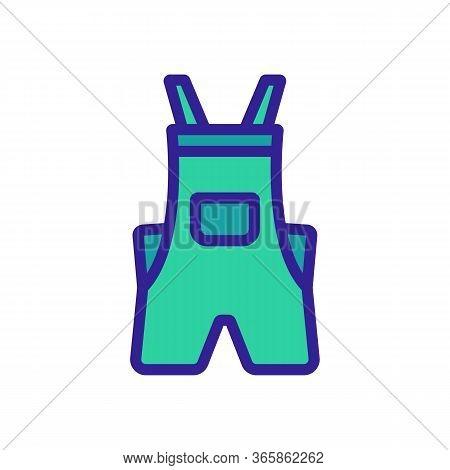 Shortened Coveralls Icon Vector. Shortened Coveralls Sign. Color Symbol Illustration