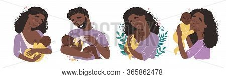 Young Black African American Happy Parents Hug Their Newborn Baby
