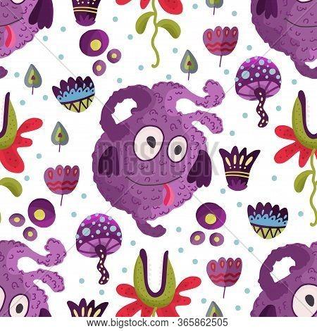 Cute Cartoon Purple Monster Vector Seamless Pattern In A Flat Style. Funny Kid Alien Character Backg