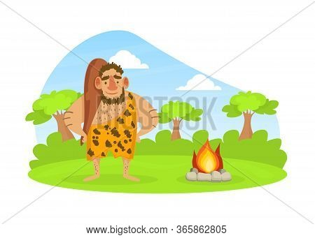 Prehistoric Caveman In Animal Skin Standing With Club On Stone Age Natural Landscape Vector Illustra