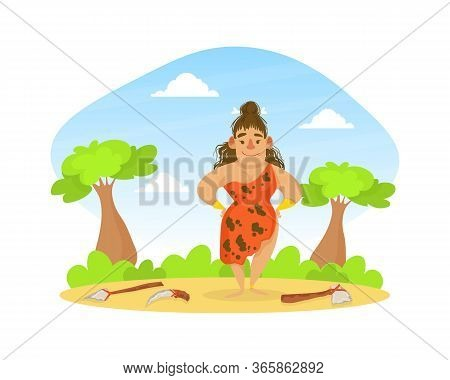 Prehistoric Woman In Animal Skin Standing On Stone Age Natural Landscape, Primitive Tools Lying On G