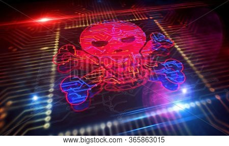 Cyber Crime And Skull Icon. Piracy, Digital Attack, Computer Security Futuristic Concept Production