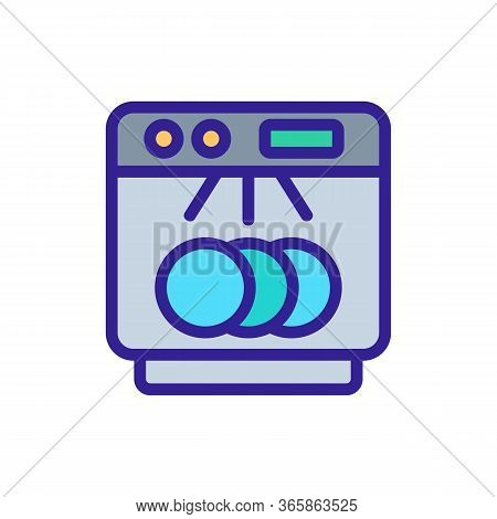 Clearly Visible Dishes In Dishwasher Icon Vector. Clearly Visible Dishes In Dishwasher Sign. Color S