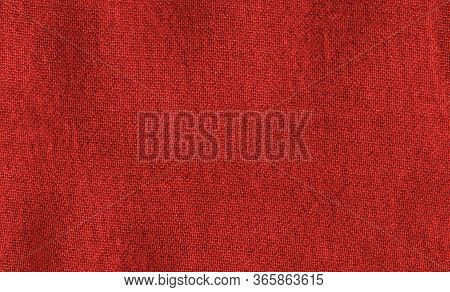 Bright Red Texture Of Binding Fabric. Red Textile Background With Natural Folds. Close-up