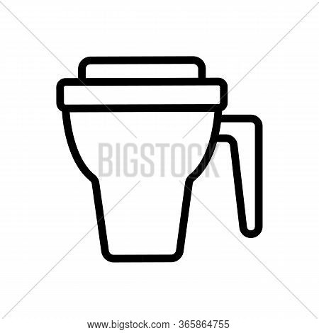 Thermos Cup With Handle Icon Vector. Thermos Cup With Handle Sign. Isolated Contour Symbol Illustrat