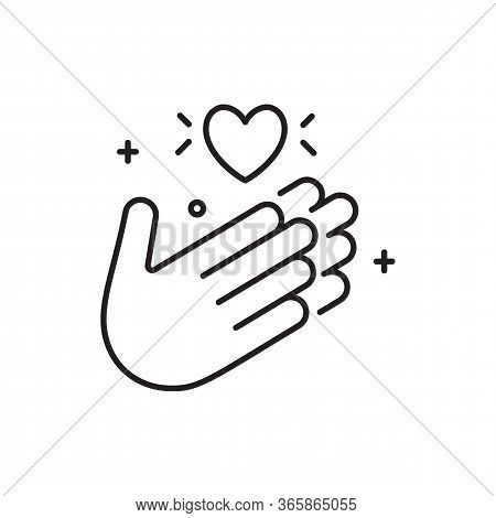 Applause Icon In Line Style With Thank You. Hands With A Heart