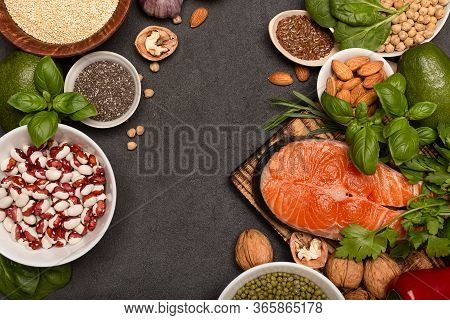 Frame Of Food Sources Of Omega 3 On Dark Background Top View, Copy Space. Foods High In Fatty Acids,