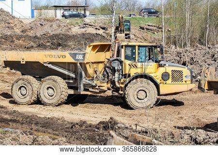 Kirishi, Russia - 8 May, Powerful Heavy Off-road Dump Truck, 8 May, 2020. Start Of Construction Of A