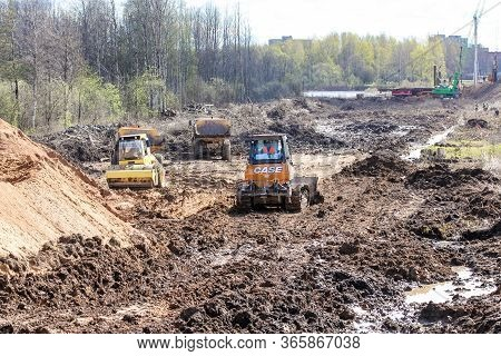 Kirishi, Russia - 8 May, Dirty Earthworks At A Construction Site, 8 May, 2020. Start Of Construction