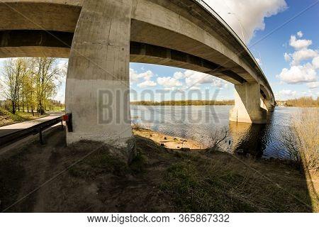 Concrete Support Road Bridge Over The River.