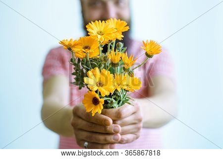 Man Holding Bouquet Of Flowers. Man Holding Yellow Flowers. Flowers For Postcard And Home Decoration