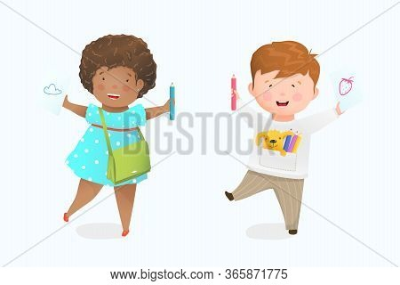 Little Girl And Boy Drawing With Pencil On Paper, Happy African American Kid Smiling Showing Illustr