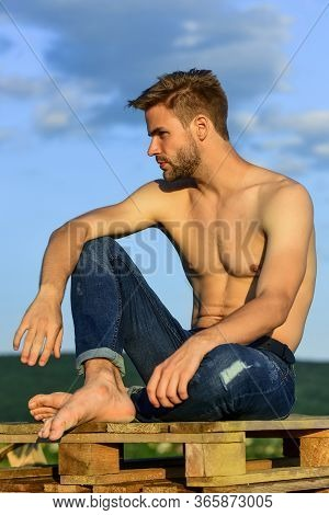 Always In Good Shape. Athletic Body Shape. Shirtless Guy Relax At Sunrise. Young Athletic Guy Muscul