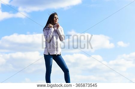 Freshness Of Wind. Woman Fashion Model Outdoors. Woman Enjoying Cool Weather. Matching Style And Cla