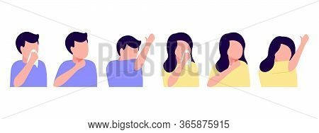 Sick People Abstract Man And Woman Feeling Unwell, Cough, Sore Throat, Cold. Throat Irritation, Sore