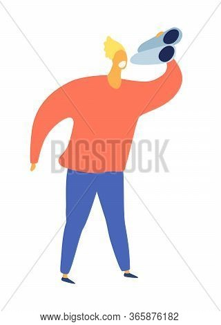 Explorer Man With Binoculars Vector Illustration. Man Holding Binoculars, Cartoon Style. Traveling/b