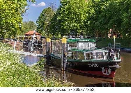 Haren, Germany - May 09, 2020: Boat And Lock In The Central Canal Of Haren, Germany