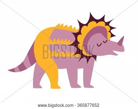 Dinosaur Triceratops Vector Illustration. Cute T-rex Character Cartoon Art Isolated On White Backgro