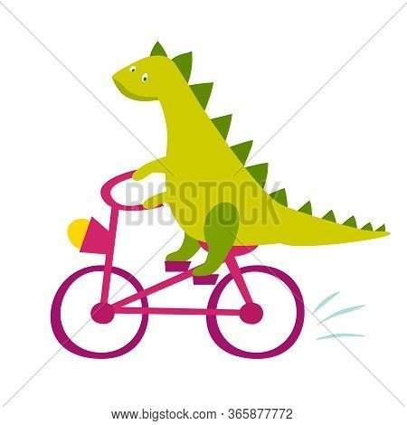 Cute Dinasaur Riding Bicycle Vector Illustration. Cute Happy Green Dino Cartoon Print Isolated On Wh