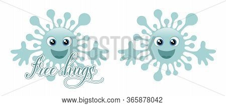 Two Blue Coronavirus Emojis And Message Free Hugs Isolated On White Background. Vector Illustration.