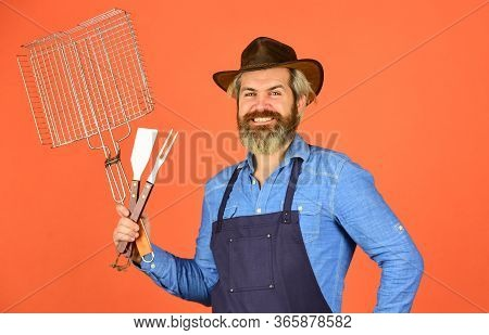 American Picnic. Family Tradition. Cooking Meat. Spring Season. Bearded Hipster Wear Hat And Apron F