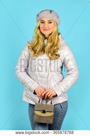 Trendy Girl Holding Small Bag. Shopping Cheaper Than Psychiatrist. Stylish Accessories. Fashionable