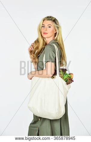 Housewife After Shopping. Reusable Eco Bag For Shopping. Woman Holding Shopping Bag With Fruits And