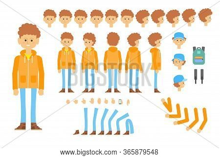 Animated Character Of Teenager In Modern Outfit. Creative Set With Different Poses, Gestures, Emotio
