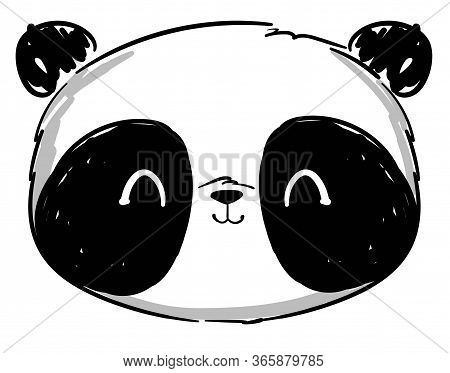 Hand Drawn Panda Isolated On A White Background. Sketch Graphic Illustration Panda Bear. Vector Stoc