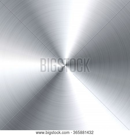 Realistic Brushed Metal Texture. Polished Stainless Steel Background. Vector Illustration.