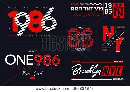 New York, Nyc Typography Set For T-shirt. Brooklyn Graphics For Tee Shirt. Collection Of Prints For