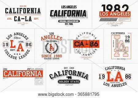 Set Of California, Los Angeles Prints For T-shirt. Typography Graphics For College Tee Shirt. La Sta