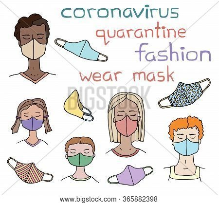 Multinational People Wearing Face Masks. Hand Drawn Vector Doodle Man, Woman, Children In Cloth Medi