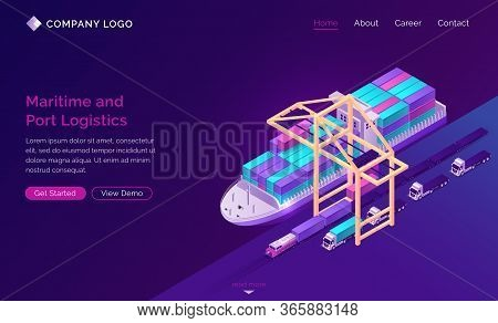Transport Logistics Isometric Landing Page, Ship In Port With Ramp, Train And Trucks. Delivery Servi