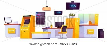 Bank Interior Stuff With Atm, Automated Teller Machine, Reception And Customer Service Desk, Cashbox
