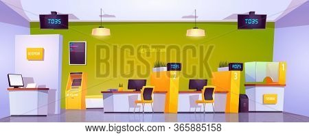Bank Office Interior With Atm, Cash Box, Staff Desk And Reception Counter. Vector Cartoon Illustrati