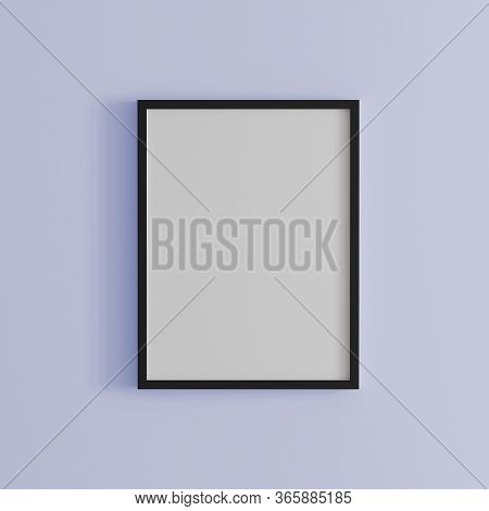 Blank Frame On Light Purple Wall Mock Up, Vertical Black Poster Frame On Wall,  Picture Frame Isolat